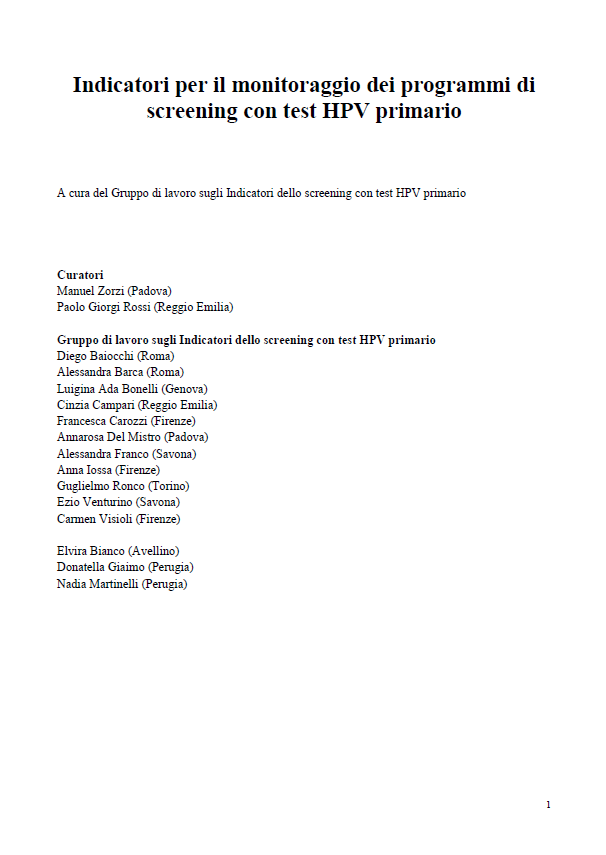 Il Manuale degli Indicatori per il monitoraggio dei programmi di screening con test HPV primario